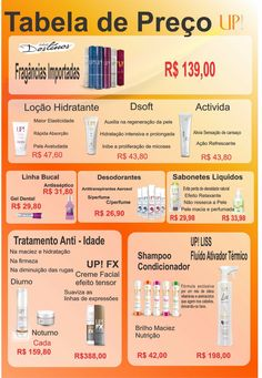 Tabela de preços up essência