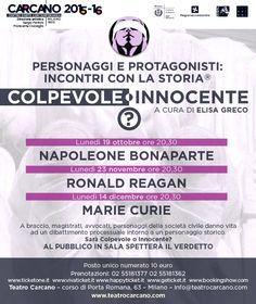 Personaggi e protagonisti: incontri con la storia - a cura di Elisa Greco Teatro #Carcano #Milano.