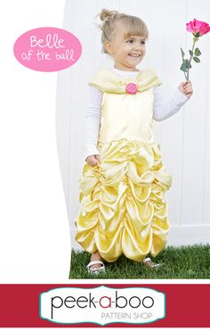 Belle Inspired Dress-Up Free Pattern and tutorial Belle Inspired Dress, Belle Dress Up, Fancy Dress, Sewing Patterns Free, Clothing Patterns, Free Pattern, Kids Clothing, Ball Dresses, Nice Dresses