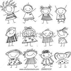 Happy kid cartoon doodle collection by Dualororua via Shutterstock  maovanie textil  Doodle people Doodles e Cartoon kids