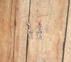 Silver deer earrings, baby fawn earrings, Bambi earrings, mini deer, gift for hunter, small, lightweight, metal charm, dangle, nickel free https://www.etsy.com/listing/219220980/silver-deer-earrings-baby-fawn-earrings