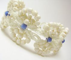White Micro Macrame Bracelet with Off White Seed Glass Beads on Etsy
