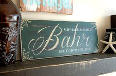 Unique Personalized Wedding Gifts - Hand Painted Rustic Family Name Sign - Green Board 18x7 on Etsy, $65.00