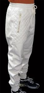 New-Mens-Off-White-PU-Faux-Leather-Joggers-Quilted-Zipper-Pockets-w-Drawstring