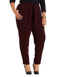 Plus Size Sash-Belted Slim Cut Trousers: Charlotte Russe
