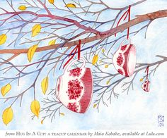 """""""November"""" from Hug in a Cup: a Teacup Calendar by watercolor artist, Maia Kobabe -- *red-gold-sparks on deviantART"""