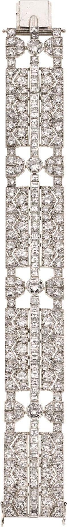 Art Deco Diamond, Platinum Bracelet, Fontana, French. ... Estate | Lot #58166 | Heritage Auctions