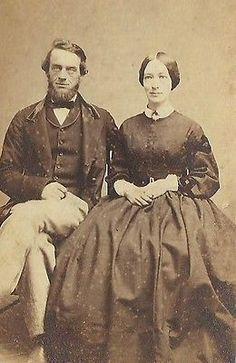 CDV PHOTO WELL DRESSED OLDER HUSBAND & WIFE IN LARGE HOOP DRESS CIVIL WAR ERA