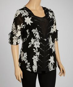 Take a look at this Black & Ivory Floral Embellished Single-Button Top - Plus by Simply Irresistible on #zulily today!