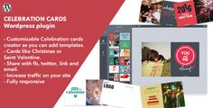 Celebration Cards - Wordpress Plugin (former Christmas Cards) by rssyow This Celebration Cards Wordpress Plugin provides you a simple card creator which allows the users create cards using predefined templates as well using their own images and writing any text they want. Once the user has finished cr