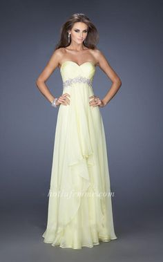 Strapless Lemon La Femme 19744 Full Length Evening and Prom Gown with Fancy Filigrees