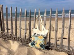 Tote bag palmiers fond turquoise