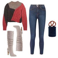 - Lend interest to your beloved skinny jeans by tucking them into slouchy suede boots on days you prefer to dress down. A cozy color-blocked sweater brings the relaxed ensemble together to appear comfortable but never sloppy.