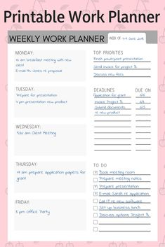 Printable work planner. Organize your workweek with this printable planner.