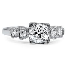 The Lauraine Ring. $6,440. 18k white gold. 1920's Art Deco.