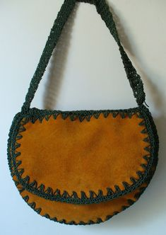 Vintage Made in Italy Suede & Crochet Bag by EurotrashItaly on Etsy