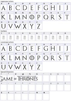 Game of Thrones Font Character Map George R. Martin begun a fantasy series of Carte Game Of Thrones, Game Of Thrones Decor, Game Of Thrones Cards, Game Of Thrones Theme, Game Of Thrones Gifts, Game Of Thrones Quotes, Game Of Thrones Funny, Game Of Thrones Images, Game Of Thrones Tattoo