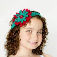 Christmas Headband & Flower Crochet Pattern via Hopeful Honey