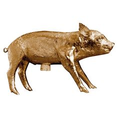 Realistic piggy bank in gold plate.  Product:  Bank in form of pig        Construction Material:    Resin and corkCo...