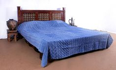 Indigo Kantha Quilt Indian Patchwork Bedspread Bed Cover Throws Rallies Blanket #Handmade #ArtsCraftsMissionStyle