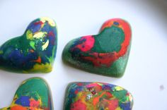 Old crayons are stripped of their paper, chopped up, spooned into a heart-shaped ice cube tray and left in the car on a hot summer day. The result? A lot of laughs and some cool, new multicolored crayons for the kids.