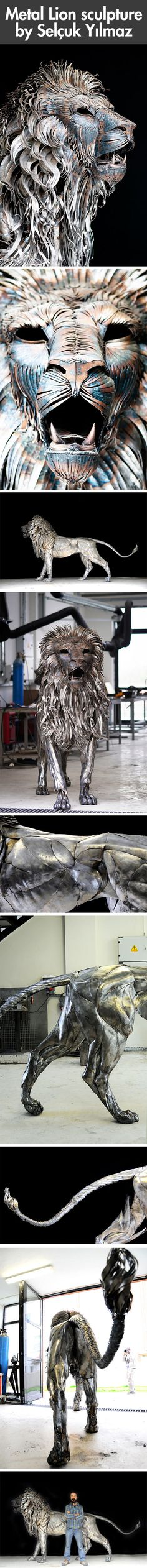 Created from nearly 4,000 pieces of metal scraps, Aslan (Turkish for Lion), is a recent sculpture by Istanbul-based artist Selçuk Yılmaz. The piece took nearly a year of work and involved hand-cutting and hammering of each individual metal piece. The final work weighs roughly 550 pounds (250kg).