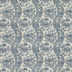 Printed on pure linen, the curves of this graceful stripe are filled with stylised flowers and foliage both bold and delicate.Offer free samples: off first order: GPJTEN Drapery Fabric, Linen Fabric, Gp&j Baker, Design Repeats, French Home Decor, Pattern Names, White Fabrics, Blue Fabric, Color Mixing