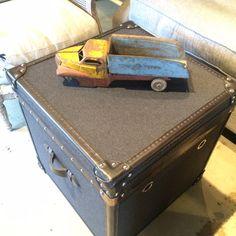 Mackenzie Side Table #andrewmartin #interiordesign #decor #trunk #vintage #truck #toy #sidetable
