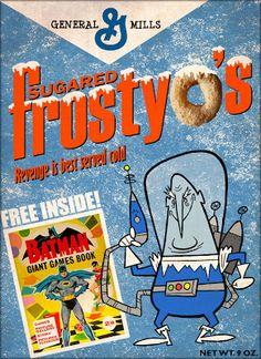 Fan-made Frosty O's cereal box Vintage Advertisements, Vintage Ads, Cereal Packaging, Im Batman, Batman 1966, Batman Stuff, Cereal Killer, Picture Story, Ol Days