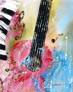 Original abstract art guitar music notes by Khanhha by PaintingsbyKHANH on Easy              SOLD