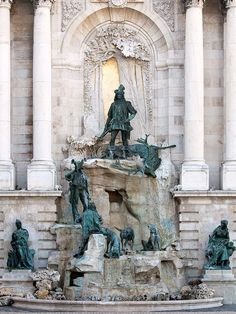 Known as the Trevi Fountain of Budapest, Matthias Fountain in the western forecourt of the Royal Palace - Budapest, Hungary