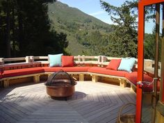 Deck seating with pillows
