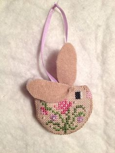 Finished Completed Just Nan Honey Bunny Easter Cross Stitch Ornament Hanger | eBay