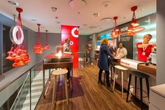 Wonderful Phone Store Interior Designs: Striking Vodafone Office Interior With Modern Glass Table Net Shopping, Cell Phone Store, Appliance Sale, Retail Merchandising, Mobile Shop, Retail Interior, Retail Space, Modern Glass, Lights