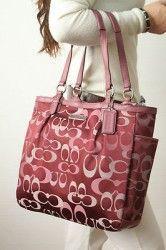 COACH F20442 Gallery Optic Signature N/S Tote Bag Handbag Purse Bordeaux NWT