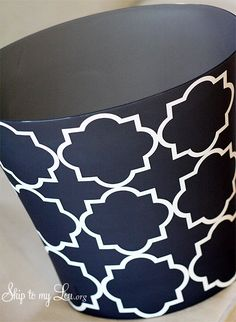 trash can embellished with vinyl--what a smart idea for my plain plastic trash cans