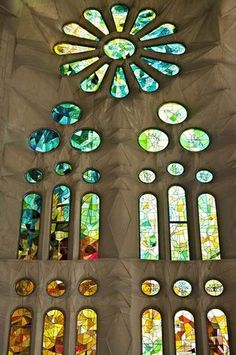 Stained glass,Sagrada Familia, Barcelona. Antonio Gaudi, architect.
