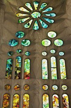 Stained glass,Sagrada Familia, Barcelona. Antonio Gaudi, architect.