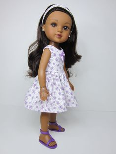Hearts 4 Hearts doll clothes  White and purple flowered dress  by JazzyDollDuds