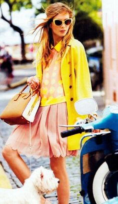 Model: Anna Iaryn and look at that cute Westie! Vogue, Shape Magazine, Mellow Yellow, Yellow Coat, Bright Yellow, Pink Yellow, Color Yellow, Mode Inspiration, Fashion Inspiration