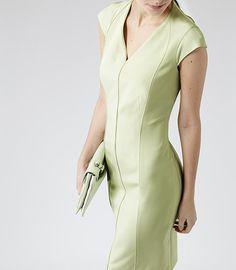 Womens Lime Tailored Dress - Reiss Rimini