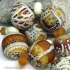 """ANASTASIA--lampwork beads--(7)--""""SANDSTONE""""--SRA I forget to check ebay for items like these...beautiful!"""