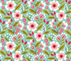 Colorful spring flowers pink on mint fabric by heleen_vd_thillart on Spoonflower - custom fabric