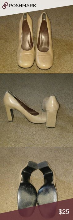 Classic Nude Leather Pump Very classy, business casual, and after 5 nude stacked heeled pumps. BCBGMaxAzria Shoes Heels