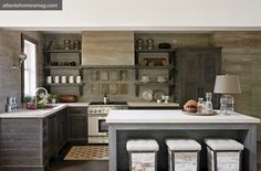 Beth Webb Designs and Bell Custom Cabinetry. Atlanta Homes & Lifestyles. Grey Kitchens, Cool Kitchens, Remodeled Kitchens, French Kitchens, Rustic Kitchen, Kitchen Dining, Country Kitchen, Kitchen Grey, Earthy Kitchen