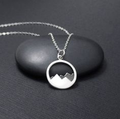Mountain Necklace, Mountain Range Pendant Charm, Nature Necklace, Nature Jewelry