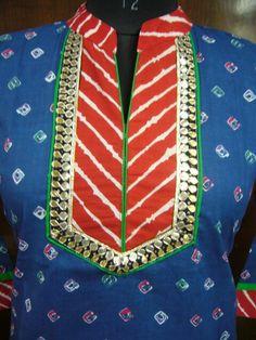 Bandhej jaipuri print kurti with lehariya print yoke and gota work  outlining. Traditional ladies wear