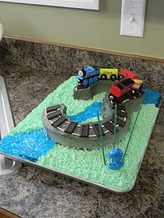Thomas the Train birthday cake. This will be changed to a number 2 in sept