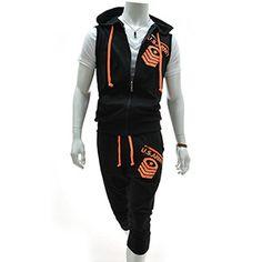 (RBV7S01-BLACK) Slim Zipper Hood Vest Training Jacket 3/4 Baggy Pants Set