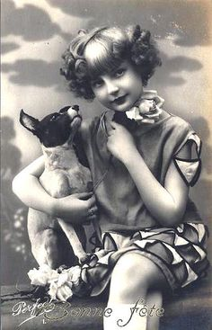 Vintage Postcard ~ Girl with rat terrier Bonne Fete